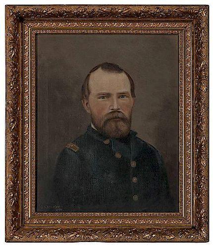 General Benjamin D Pritchard 4th Michigan Cavalry Oil On Canvas