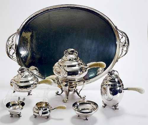 Seven piece blossom pattern Georg Jensen sterling tea set
