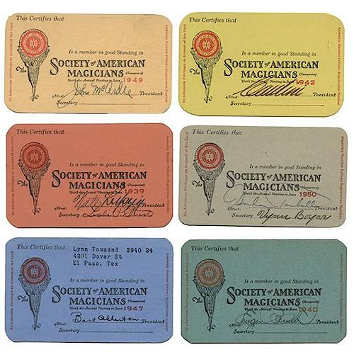 Collection of Society of American Magicians Signed Membership Cards