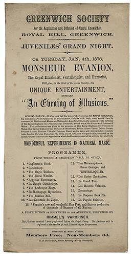 Monsieur Evanion The Royal Illusionist, Ventriloquist, and Humorist programme.