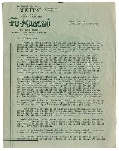 Two-Page Fu-Manchu Typed Letter Signed