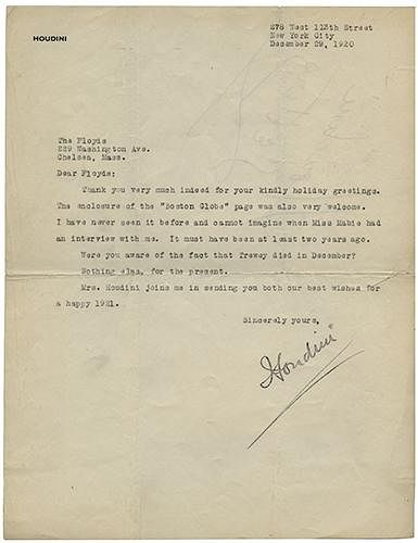 Harry Houdini Typed Letter Signed to Magician Walter Floyd
