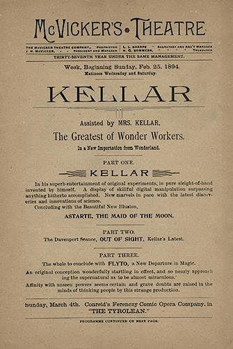 Kellar Playbill at McVicker's Theatre