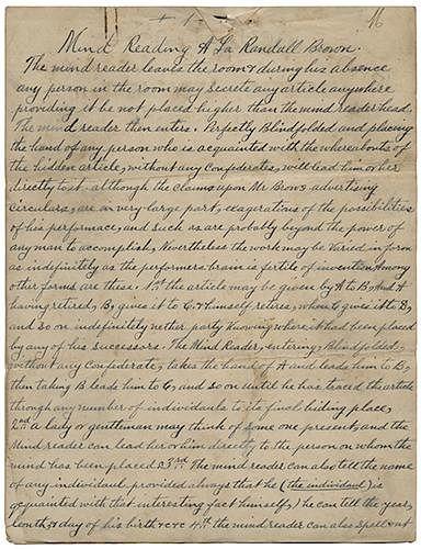 """Victorian Manuscript, """"Mind Reading A La Randall Brown."""""""