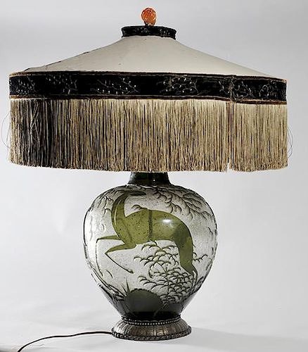 Important Daum Nancy overlaid and internally decorated glass lamp