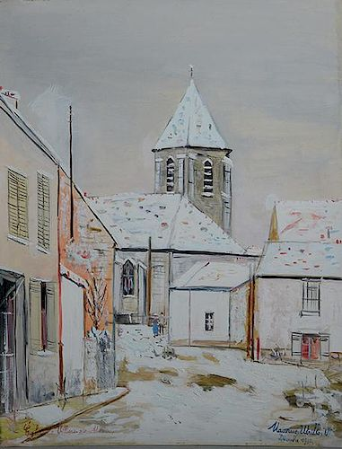 "Fine gouache on cardboard, ""Eglise de Villiens Sure Morin"" by Maurice Utrillo"