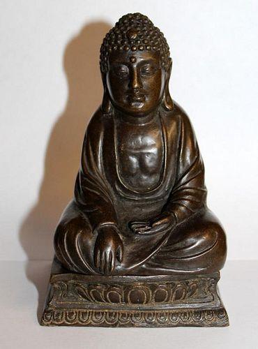 "Cold painted bronze Buddha with hidden interior deity 6""h x 3""w x 3 1/8""d"