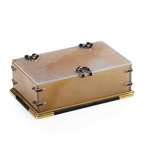 CARTIER, PARIS, ENAMELED GOLD & AGATE TABLE BOX
