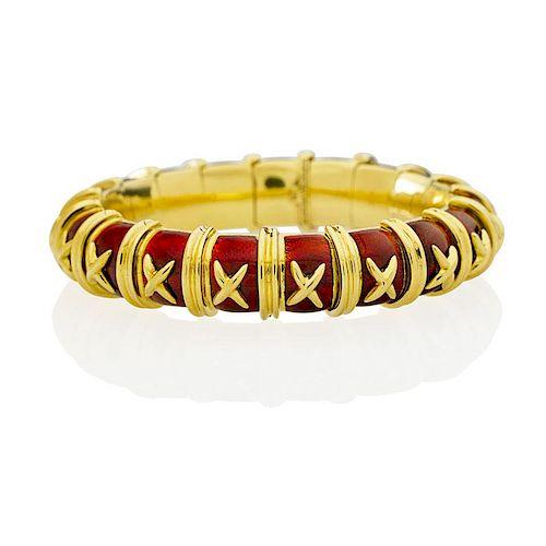f73070a4d SCHLUMBERGER RED PAILLONNE ENAMEL CROISILLON BRACELET. Lot 2262. Prev Lot ·  Next Lot · item Image