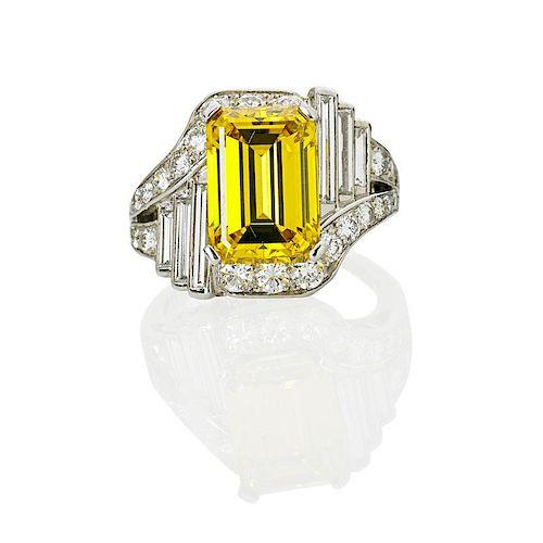 ART DECO YELLOW & WHITE DIAMOND PLATINUM RING