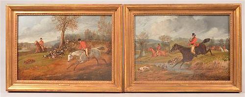 Two Henry Thomas Alken Fox Hunt Scene Oil Paintings.