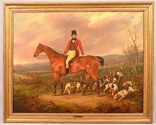 Fox Hunt Scene Oil Painting Attributed to Henry Calvert.