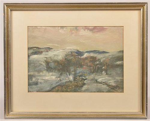 Walter E. Baum Snow Scene landscape Acrylic on Paper.