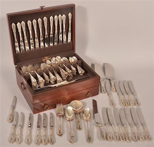 196 Pcs. of Wallace Rose Point Pattern Sterling Flatware.