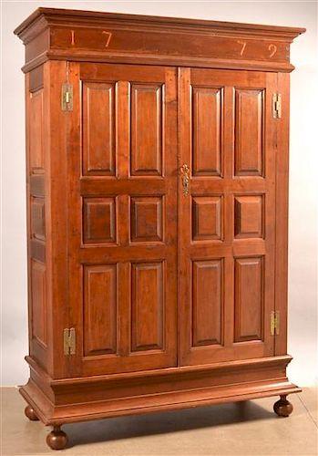 Pennsylvania Chippendale Walnut Schrank Dated 1779.