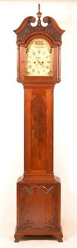 Thomas Burrowes, Strasburg, Chippendale Tall Case Clock.