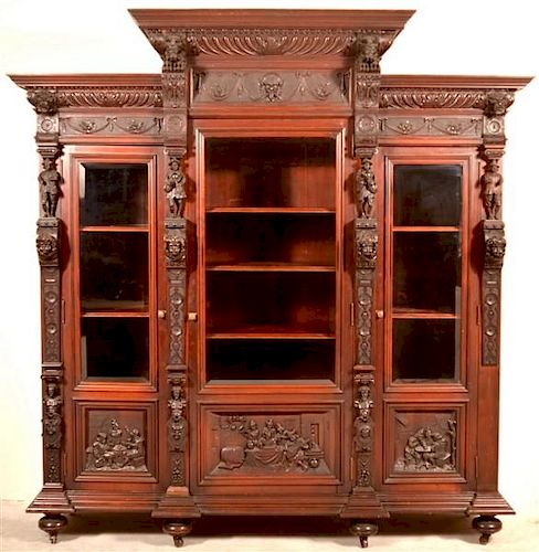 19th Century Highly Carved Mahogany 3 Door Bookcase.