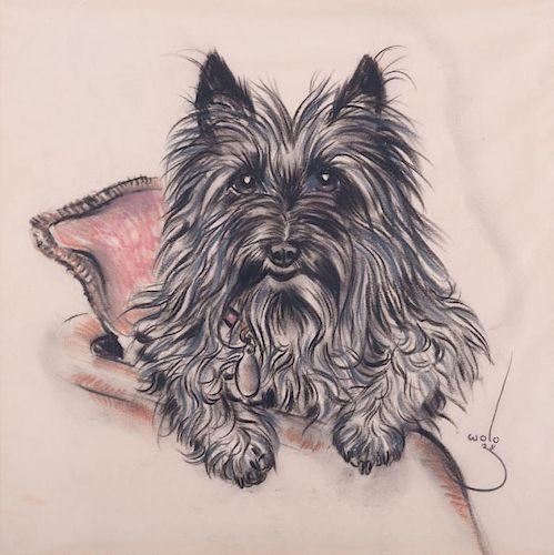 Wolo Trutzschler Pastel Drawing of Terrier