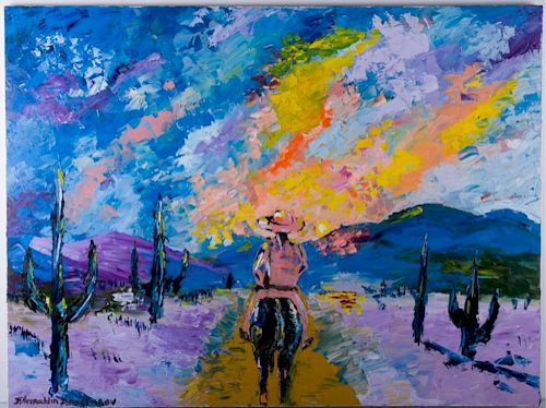 K. Dzhaffarov Western Landscape Oil On Canvas