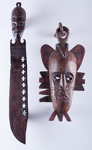 African Ironwood Carved Ceremonial Knife & Mask