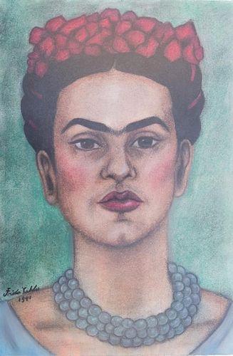 """Frida Kahlo """"Autorretrato"""" Mixed Media"""