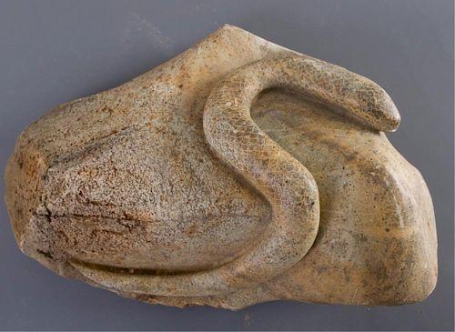 Folk Art Stone Carving of Snake on Rock