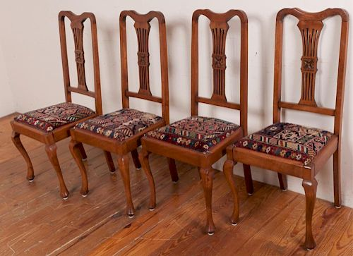 Queen Anne Style Dining Chairs, Circa 1900s