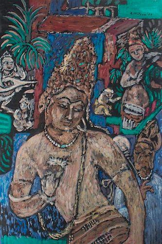 E.Metzger Ajanta & Ellora Caves Icons Oil On Panel