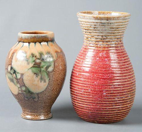 Glazed Pottery Vases Pair, Signed