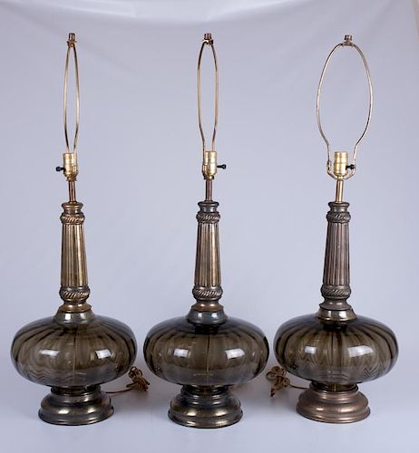 Smoked Glass Table Lamps Trio