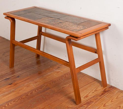 Danish Teak Tile Top Console Table