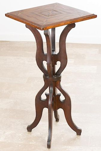 Inlaid Wood Plant Stand Circa 1800s