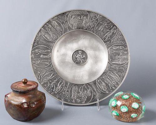 Murano Glass Paperweight & Decorative Items Trio