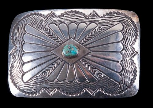 Albert Bighand Sterling & Turquoise Belt Buckle
