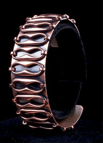 "Renoir ""Espana"" Copper Cuff Bracelet, Signed"