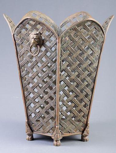 Lattice Work Brass Wastebasket Circa 1900s