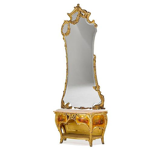 JOAN BUSQUETS GILTWOOD MIRROR AND CONSOLE