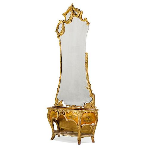 JOAN BUSQUETS GILTWOOD MIRROR AND CONSOLE (partial