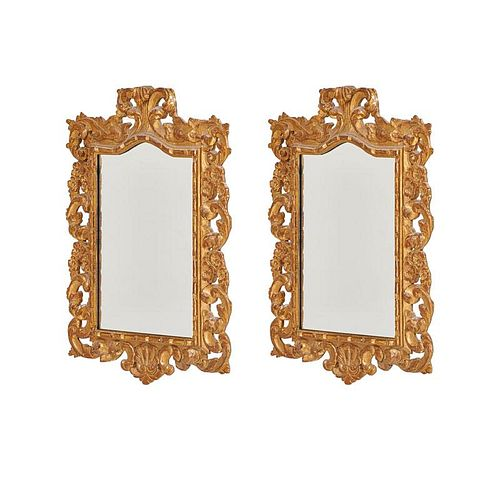 PAIR OF ROCOCO STYLE GILTWOOD MIRRORS