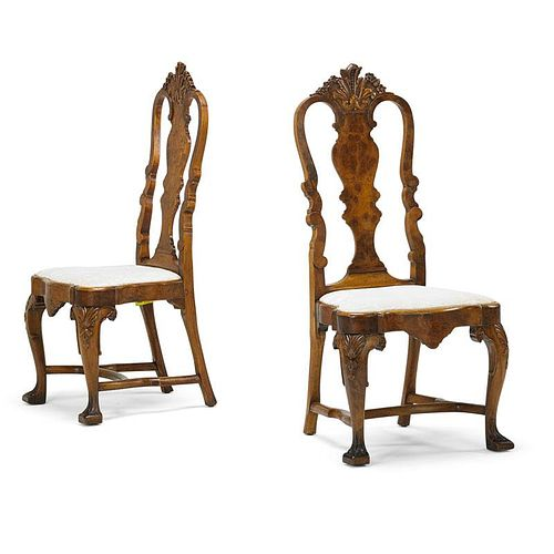 PORTUGESE ROCOCO STYLE WALNUT SIDE CHAIRS