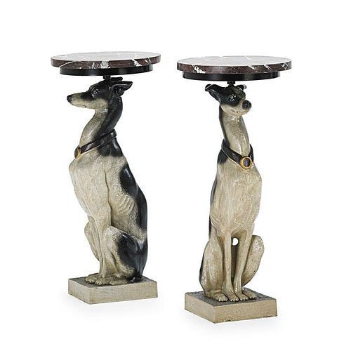 PATINATED METAL WHIPPET FORM PEDESTALS