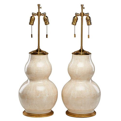 PAIR OF ROY HAMILTON DOUBLE GOURD LAMPS