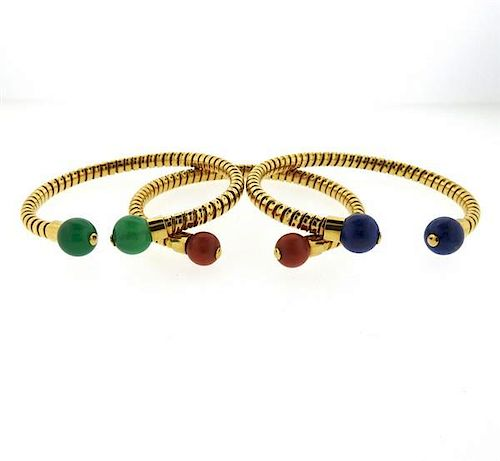 Italian 18K Gold Multi Gemstones Flexible Cuff Bracelet Lot of 3