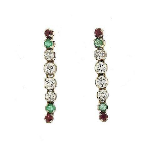 14k Gold Diamond Ruby Emerald Long Earrings
