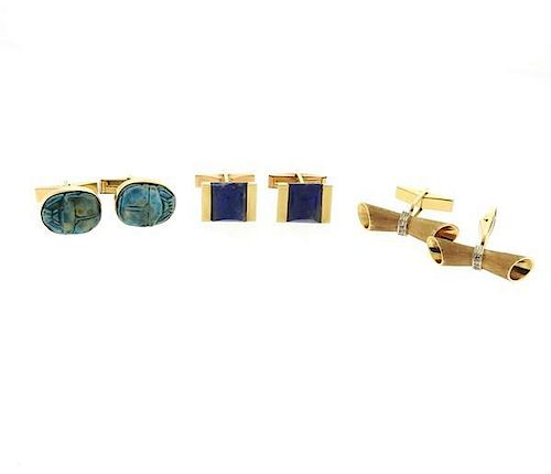 14k Gold Multi Color Stone Cufflinks Lot of 3 Pairs