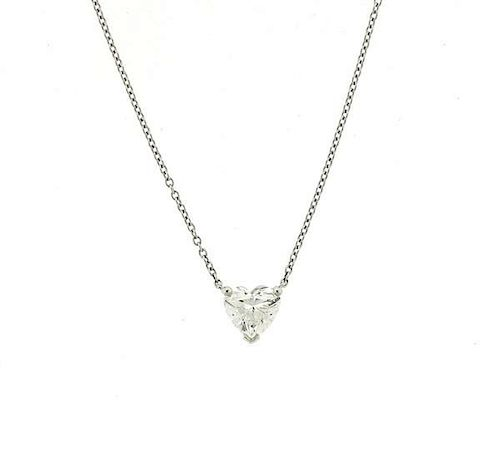 2157ba207 Tiffany & Co Platinum Heart Diamond Solitaire Necklace by ...