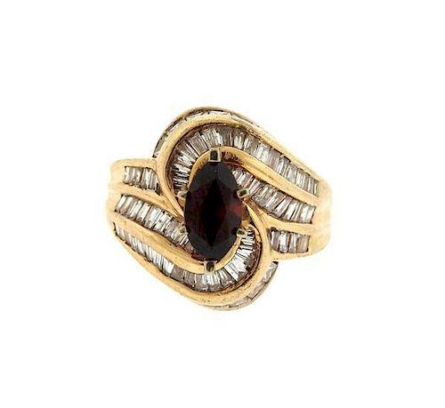 14k Gold Diamond Red Stone Ring