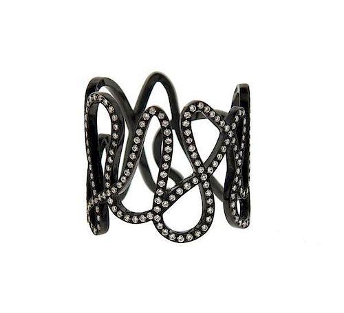 Repossi White Noise 18K Black Gold Diamond Ring