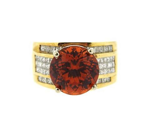 18k Gold Spessarite Garnet Diamond Ring