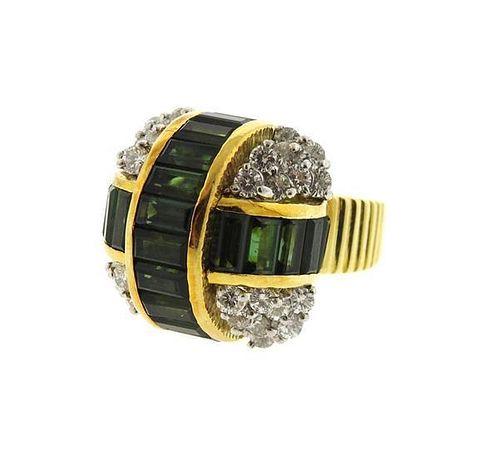 Le Triomphe 18k Gold Diamond Tourmaline Ring